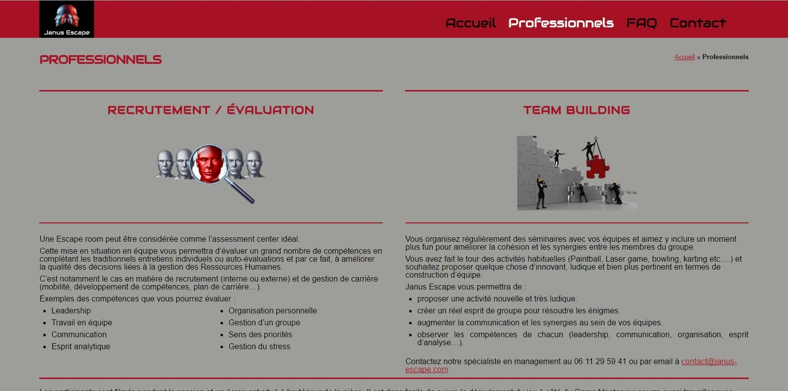 Page dédié au Professionnels de Janus-Escape