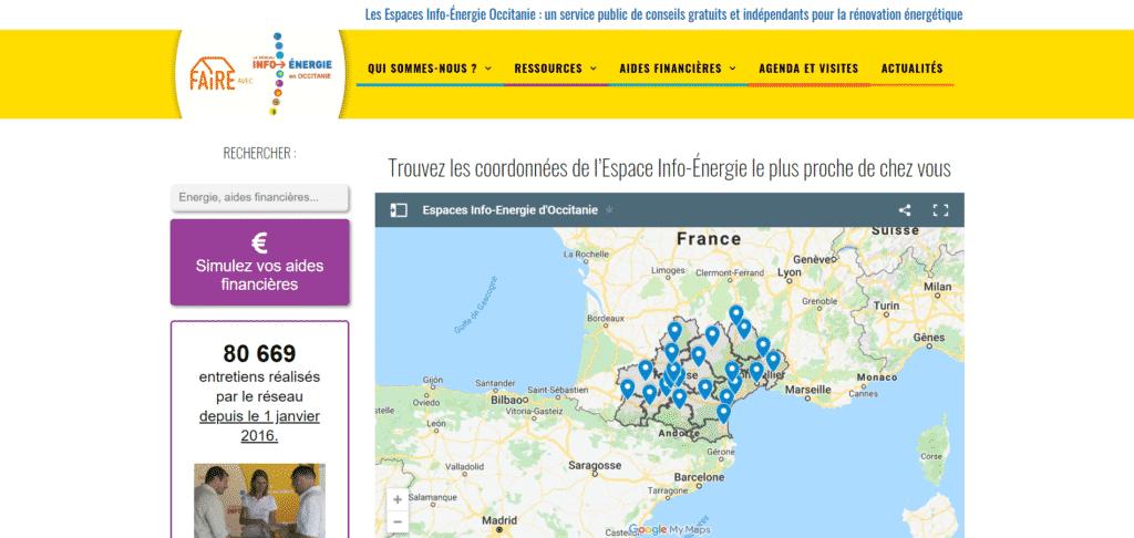 Site web : Les Espaces INFO ENERGIE en Occitanie