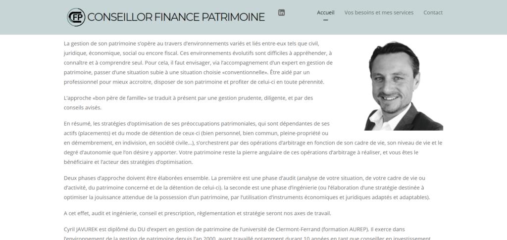 Site web : Conseillor Finance Patrimoine