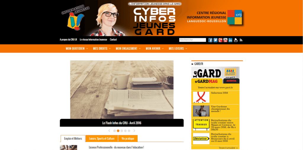 Site web : Cyber Infos Jeunes Gard [Cloturé]