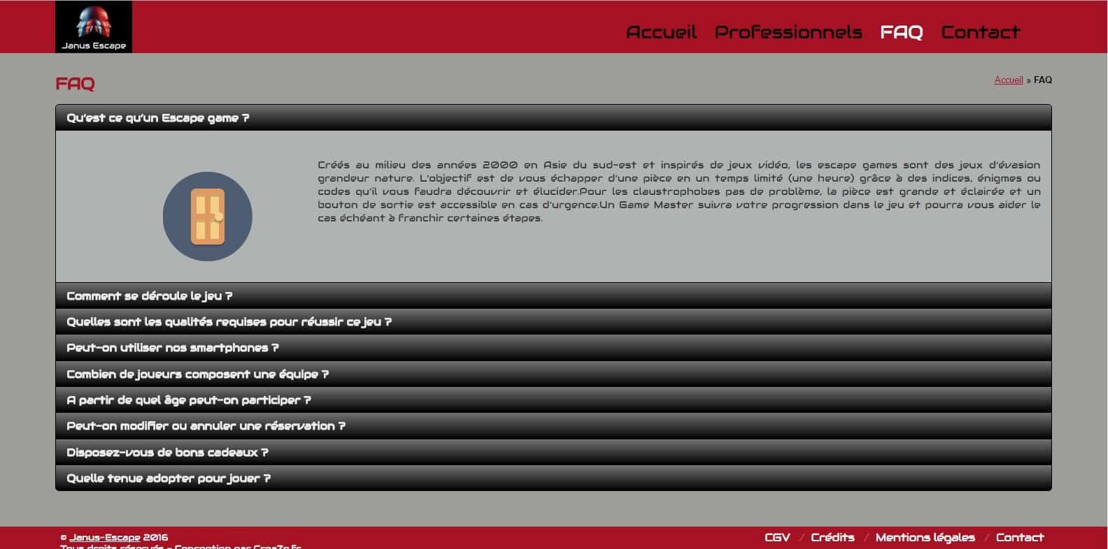 Page FAQ de Janus-Escape